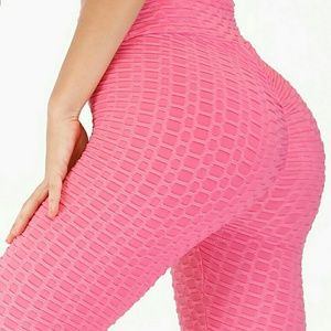 Pink textured leggings